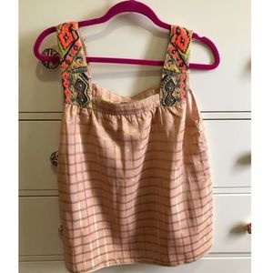 Anthropologie blouse with beaded straps